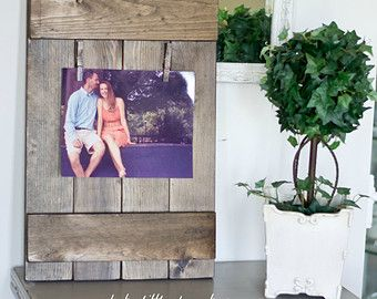 Rustic Wooden 8x10 Picture Frame Rustic Frame Clothespin