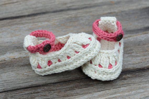 ¡VENTA!  ¡Listo para enviar!  3 a 6 meses ganchillo bebé zapatillas, zapatos de bebé, Molly verano zapatillas, zapatos de la muchacha del bebé, regalo del bebé