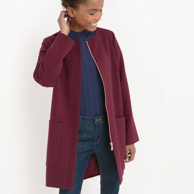 Manteau sans col R essentiel : prix, avis & notation, livraison.  Le manteau. 90% polyester, 36% viscose, 2% élasthanne. Fermeture zippée. Longueur 85 cm.Une coupe sans col très actuelle !