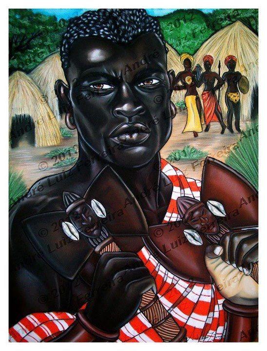 Baba Shango and his tree wives Yeye Oshun, Yeye Oya, and Yeye Oba