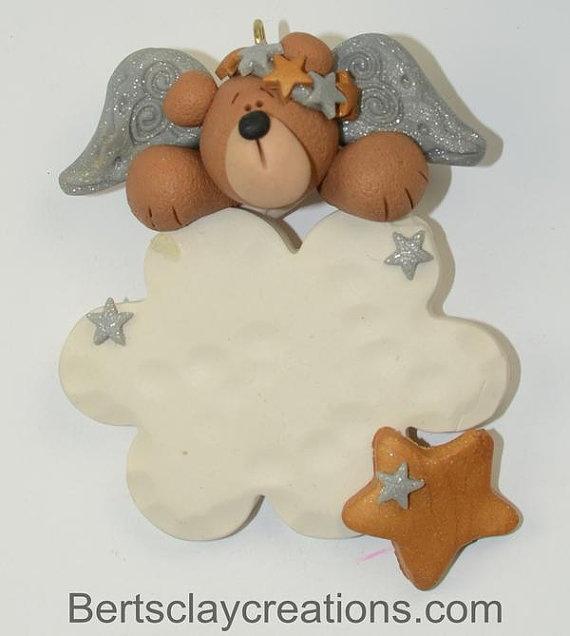 Heavenly Bear Angel Ornament by BertsClayCreations on Etsy, $6.50