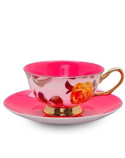 bone china tea cup and saucer.  Very Hot Pink
