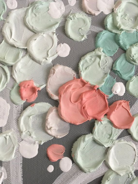 Mint Green, Coral and Gray Textured Nursery Art Original Acrylic Painting on Canvas Size: select at checkout Depth: 1.5 Color: Bright happy shades of coral, peach and mint atop a medium grey background. Full of nice texture Edges: This canvas is gallery wrapped and painted grey on
