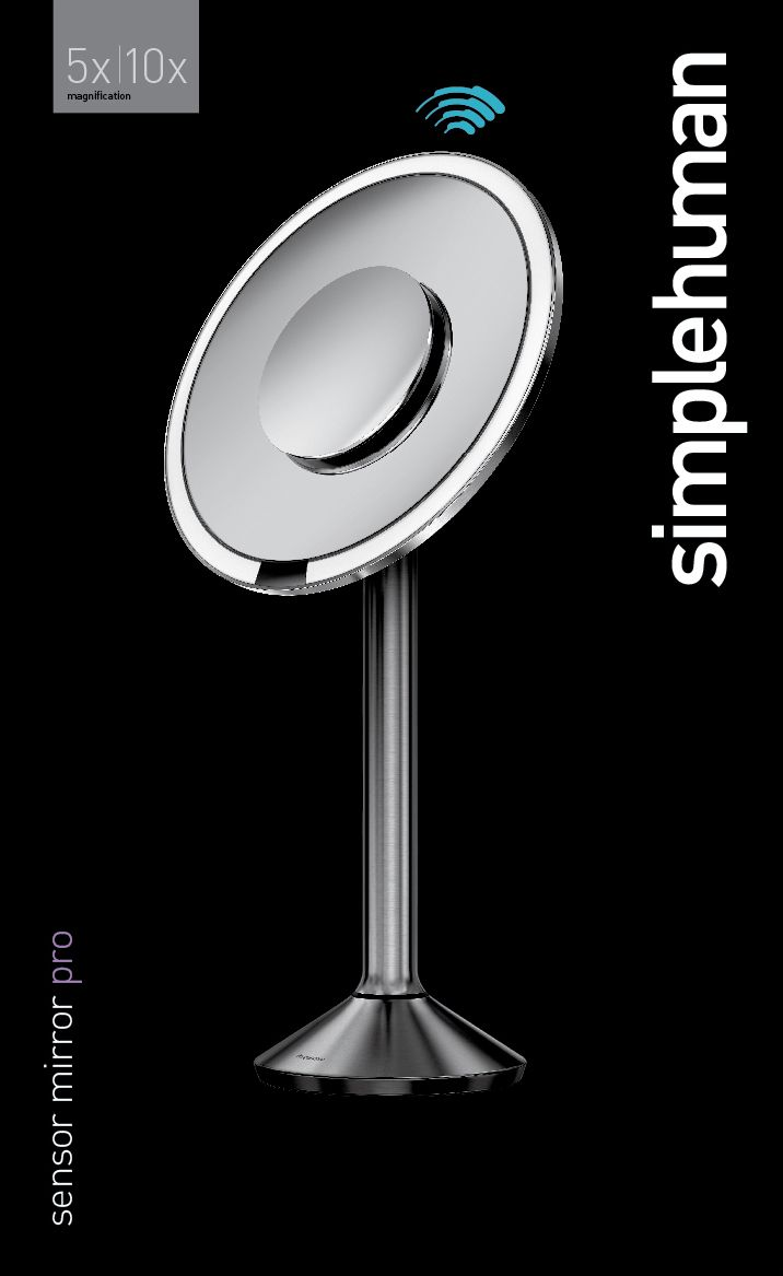 The simplehuman 8-inch round sensor mirror pro has a large 5x magnification mirror with a 10x magnification detail mirror that magnetically attaches to the front and stores on the back. With a color rendering index (CRI) of 90, its tru-lux light system closely simulates natural sunlight's full color spectrum to show every detail. Capable of over 50,000 color variations, you can use the phone to choose presets or capture light settings from the environment around you and r...