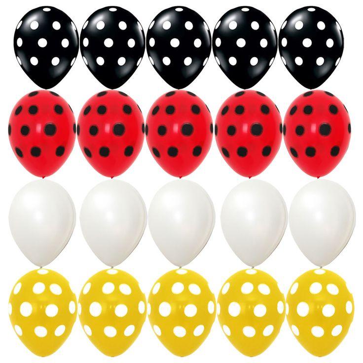 20X Latex balloons Mickey Mouse Polka dot Black red Yellow kid birthday Supplies #Sempertex #BirthdayChild