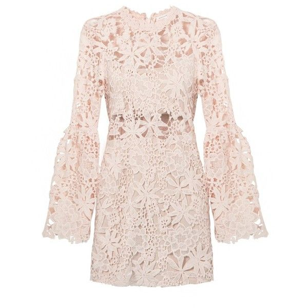 Peach Floral Lace Bell Sleeve Dress (2630 NIO) ❤ liked on Polyvore featuring dresses, flared sleeve dress, pink dress, long pink dress, floral print dress and long dresses