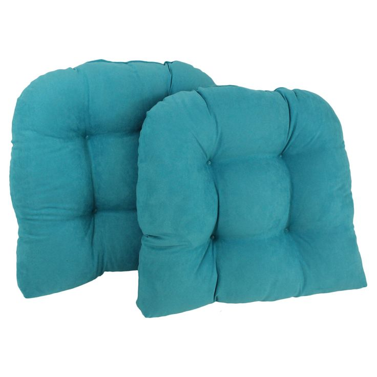Blazing Needles Microsuede U-Shaped Indoor Chair Cushion - Set of 2 - 93184-2CH-MS-AB