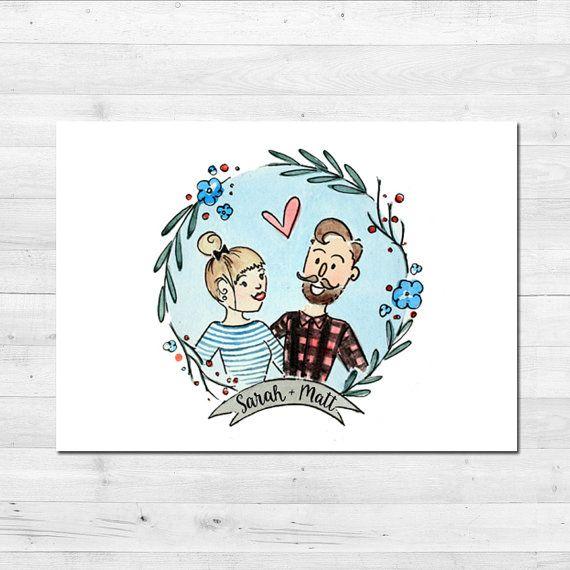 Watercolor Portrait Custom Illustration Couple by PrimpPrints