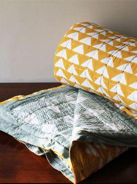 Mustard Yellow Grey Hand Block Printed Quilt