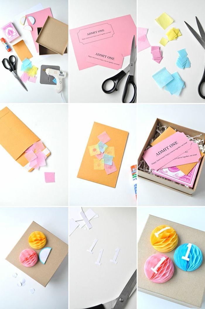tarjetas de cumpleaños para una amiga, tutorial paso a paso para hacer tarjeta de cumpleaños como cajita con adorno de círculos de papel de seda