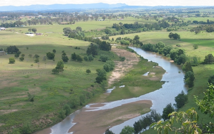 The upper reaches of the Hunter River, New South Wales, just past the head of navigation.