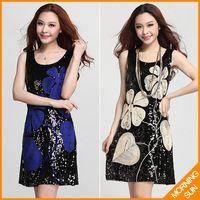 Новое поступление 2014 женщин свободного покроя летний корейский бохо сексуальные ретро цветы вышивка блестками платья повязки bodycon короткое сарафан платье #063