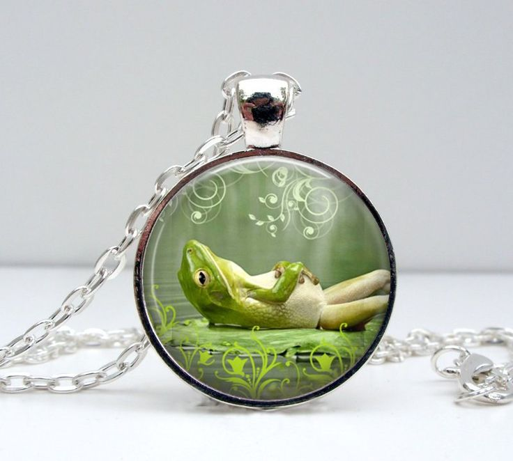 Lazy Frog Necklace - Happy Smiling Green Frog Toad Unique Art Nature Inspired Photo Pendant (18.00 USD) by Lizabettas