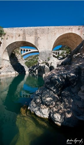 Pont du Diable (Devil's Bridge!) constructed by Benedictine monks in the Hérault.