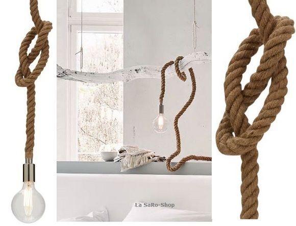 Design Deckenleuchte Industrial-Look Juteseil Lampe Beleuchtung Braun  NEU TOP in Möbel & Wohnen, Beleuchtung, Deckenlampen & Kronleuchter | eBay!