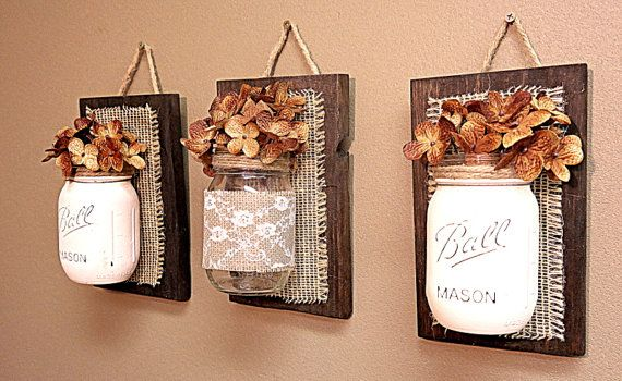 Mason Jar Wall Decor , Burlap and Lace,  Pallet Wood , Rustic Cottage Storage , Three Wall Sconce , Bathroom Storage , Country Decor