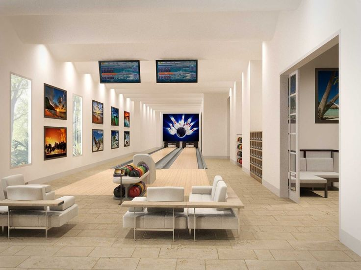 Contemporary Game Room with Bowling lane, Bowling ball return, Bowling alley, Murrey bowling alley ball return