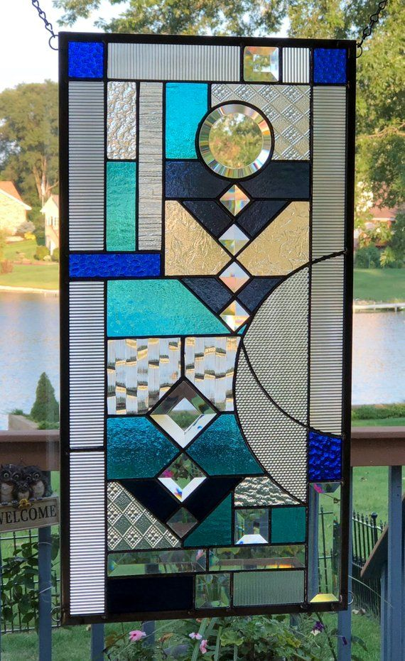 Blue Clear Stained Gl Panel Window Geometric Abstract Etsy