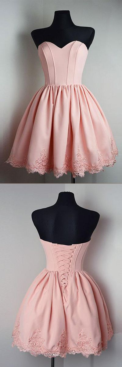 Pink Sweetheart Strapless Homecoming Dresses,Open Back Appliques Short Prom Dress H163 Short Prom Dresses, Homecoming Dresses, Prom Gowns, Party Dresses, Graduation Dresses, Short Prom Dresses, Gowns Prom, Cheap Prom Gowns on Line