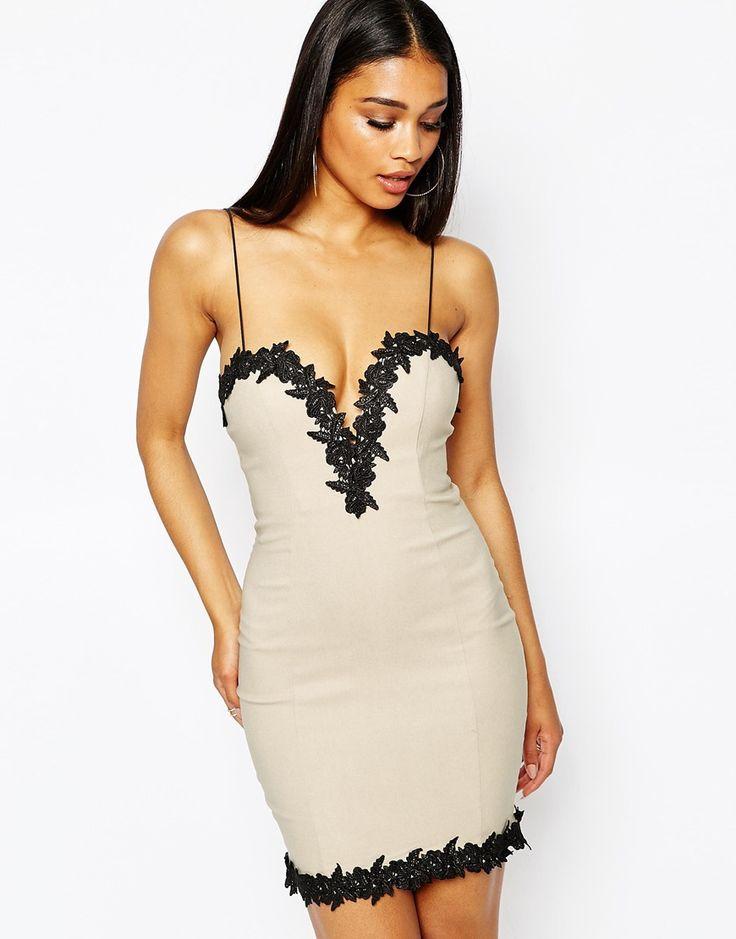 rare london lace trim bodycon dress at asos com