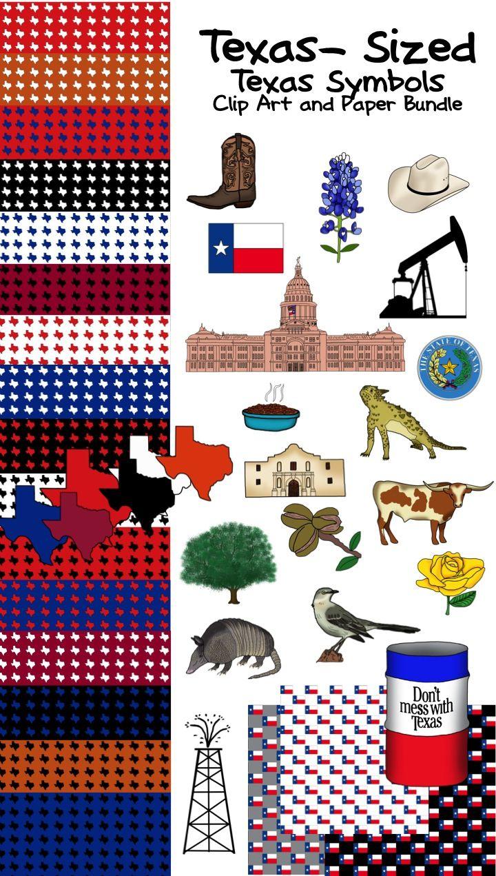 Texas History Classroom Decorations ~ Texas sized symbols clip art bundle pieces