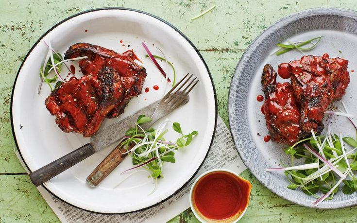 Scott Hallsworth's tea-smoked BBQ lamb chops