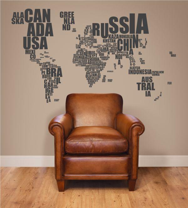 Welt, Wandtattoo, Länder, Weltkarte, Wandtattoos,