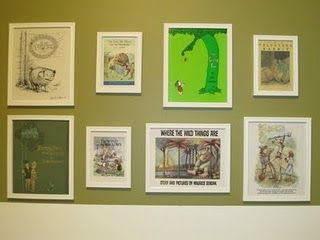 Framed book covers. Play room idea