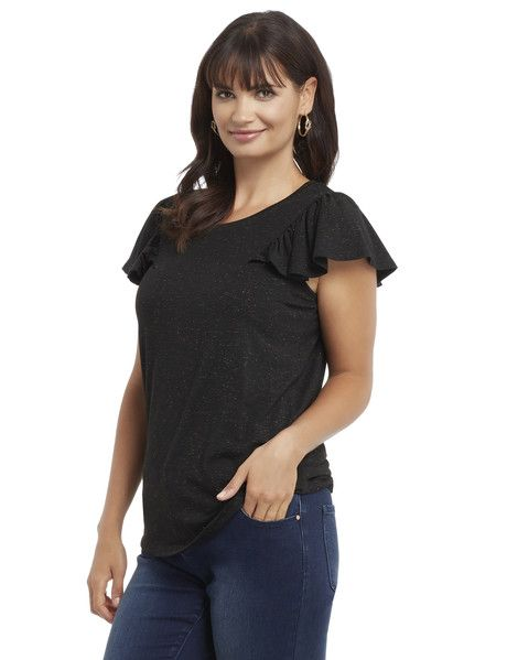 Whistle Frill Sleeve Metallic Tee - This cute tee has a round neck, and features frill sleeves and gold metallic detail.