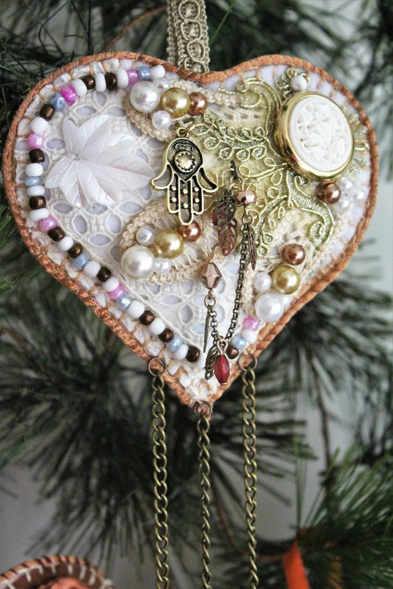 Hearts ornament with secret pocket, Wedding gift with money pocket, Tooth Fairy…