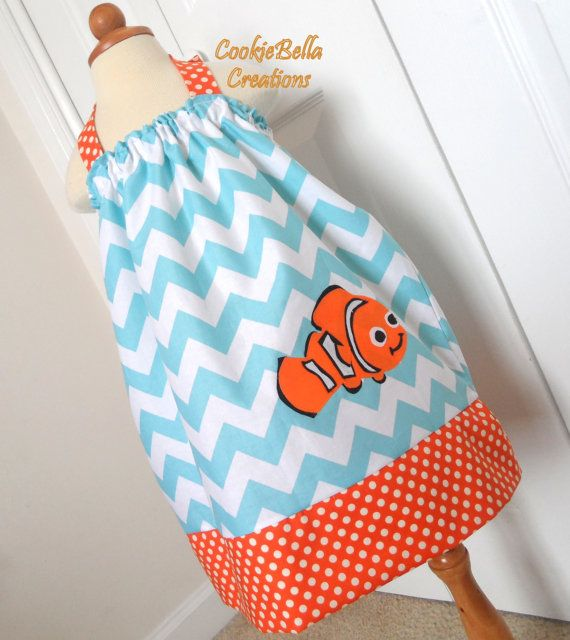 Finding Nemo Clown Fish Chevron Halter Pillowcase Dress...perfect for a birthday party!