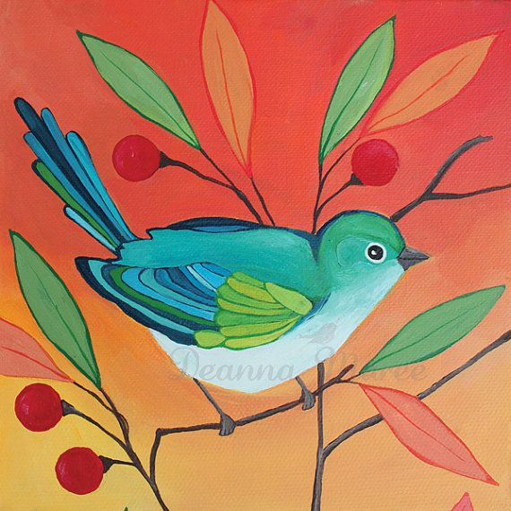 Bird  Painting - Original Acrylic on 6x6 Canvas - An Endless Song No. 5a. $85.00, via Etsy.