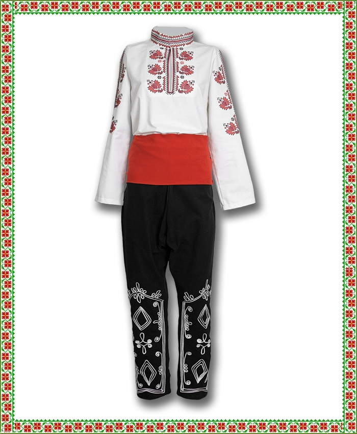 Traditional Men's Folklore costume The complete costume is composed by: Traditional white embroidered shirt kat.N 23 Traditional red sash (poyas) Traditional men's trousers(poturi), richly decorated with braids. For orders of 10 or more pieces please contact us for discount. see mor http://nosii.com/product/300/mazhka-narodna-nosia.html