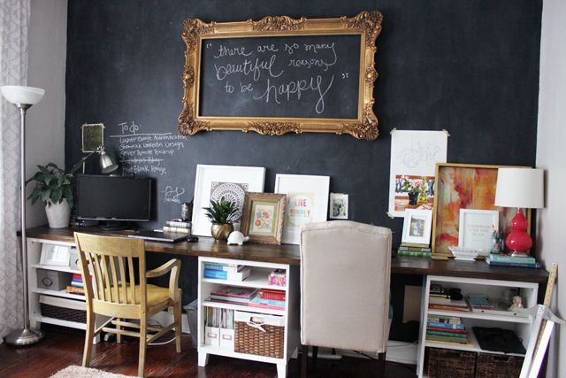 Diy 12 Foot Long Double Desk Caitlin Wallace Rowland Art Design Chalkboard Wall Decor Home Decor