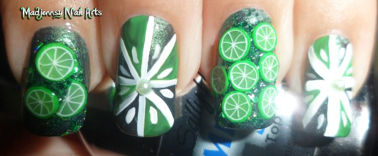 Added By Silvina Galdame. Nail Art 3D Fimo Cute Green Limes!  Nail Art Live video tutorial  http://youtu.be/FLCO39VM2qI  #nails #nail art #fimo #3d nail art #summer @bloomdotcom