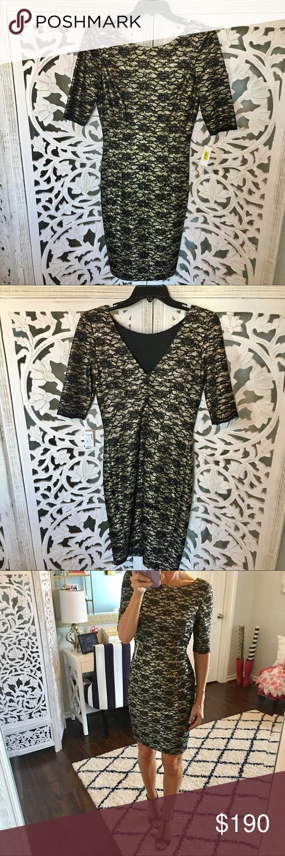 Eliza J Black and Metallic Gold Dress Brand new never worn! No trades, please💋 Eliza J Dresses