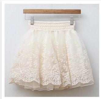 Vintage Princess White Embroidery Lace Skirt Color:white;Black. Waist:60-100 cm;Length:42 cm.