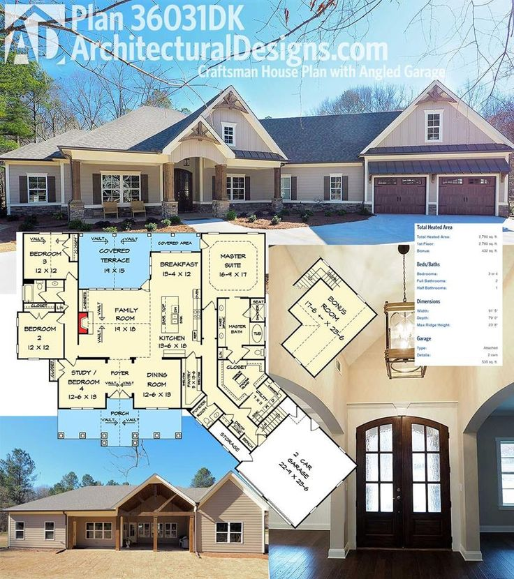 BEST Introducing Architectural Designs House Plan 36031DK comes to life! We love the angled garage and decorative timber accents on the outside and open floor plan with vaulted family room inside.   Loads more pictures inside and out online.  Ready when you are. Where do YOU want to build?