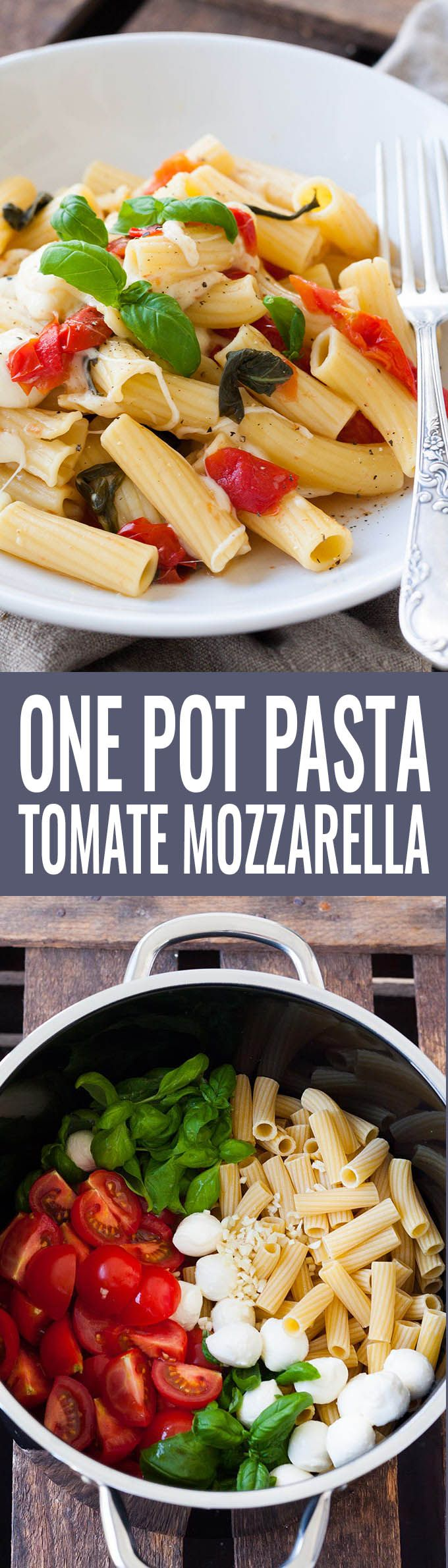 One Pot Pasta mit Tomaten und Mozzarella