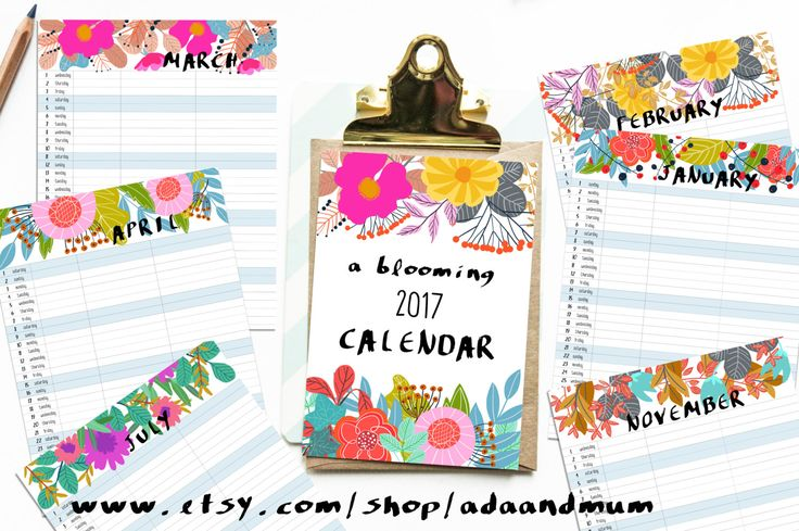 A blooming 2017 calendar with 3 columns to organize your family schedule! Printable, instant download. by AdaAndMum on Etsy