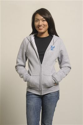 Change the World - Think We graphic printed on our eco-fleece Lena Zip-Up Hoodie in Heather Grey. Soft and cozy with a slim fit, this hoodie will show the world you're ready to make a difference! Shop at www.metowestyle.com