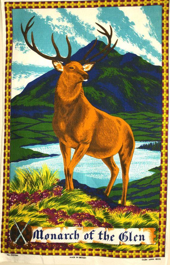 Monarch of the Glen Tea Towel  Vintage Stag in Misty by FunkyKoala
