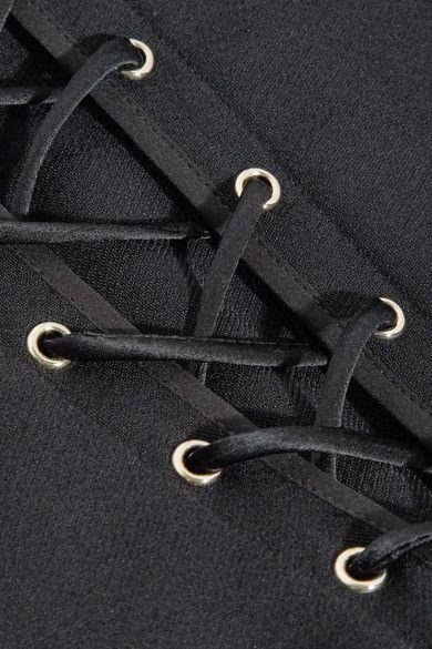 Jason Wu - Lace-up Silk Chiffon-paneled Stretch-crepe Top - Black