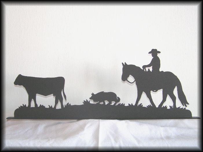 Western COULTRE Cowboy métal deco table Horloge cheval horse fer à cheval