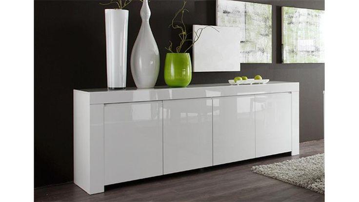 Sideboard AMALFI weiß echt hochglanz lackiert 210 cm breit