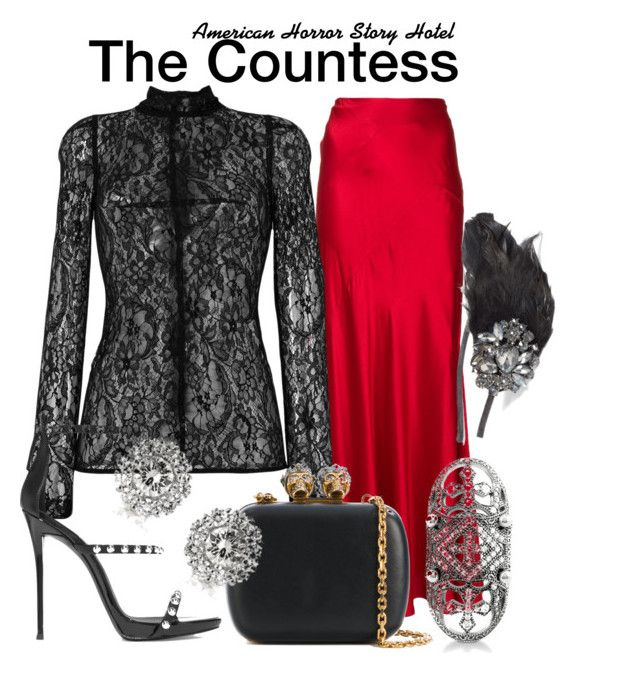 Ahs Hotel by sparkle1277 on Polyvore featuring polyvore, fashion, style, Givenchy, Alberta Ferretti, Giuseppe Zanotti, Alexander McQueen, BERRICLE, Mark Broumand, Tasha and clothing