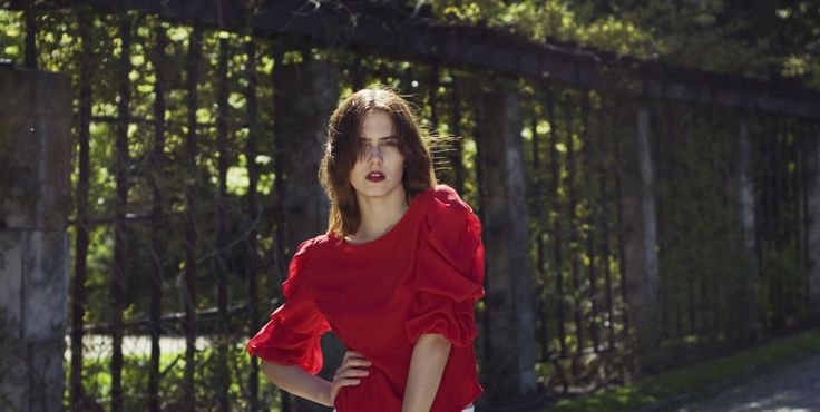 Red#Puff#Blouse