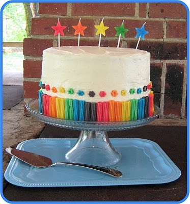 cake surrounded by colourful licorice