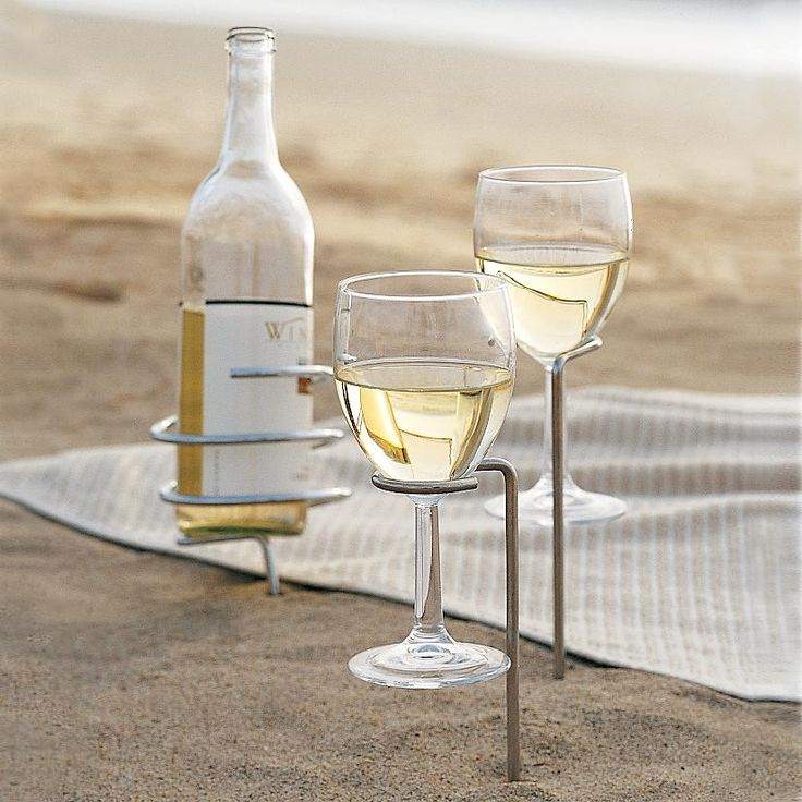 wine bottle and glass holders - perfect for picnics!