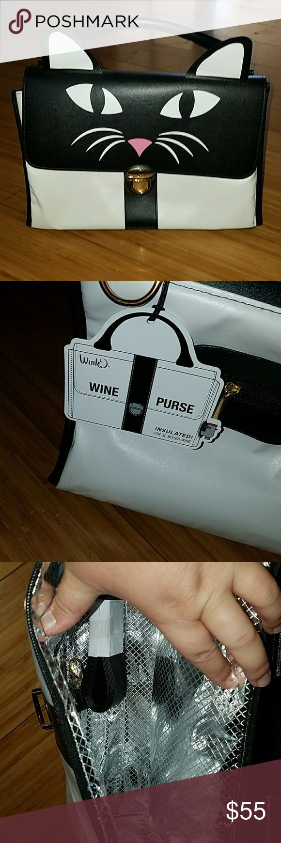 NEW Wine Purse Brand new Kitty Meow undercover wine purse wink Bags Totes
